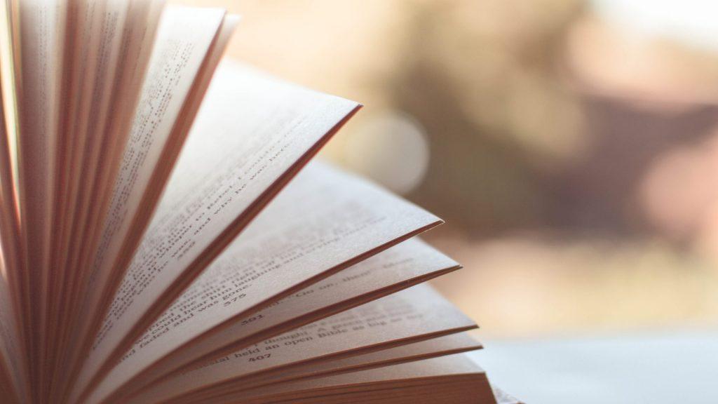 風でページがめくれている綺麗な本