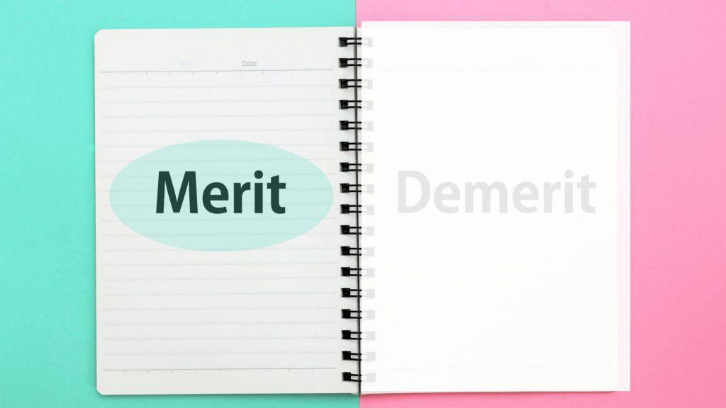 meritと書かれたノート